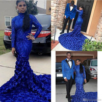 Wholesale purple flower girl jacket online - Royal Blue Mermaid Prom Dresses New Long Sleeve Sequined Appliqued Flowers High Neck Formal Evening Dress Party Gowns Black Girls Gown