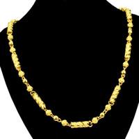 ingrosso catene in oro giallo-5mm Mens catena a maglia punk lunga catena collana oro giallo riempito accessori gioielli uomo solido collana regalo