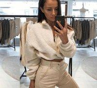 weißer pelz hoodie großhandel-Langarm Weiß Cropped Hoodie Frauen Herbst Winter Pullover Kurzes Sweatshirt Plüsch Reißverschluss Kunstpelz Flauschiges Sweatshirt