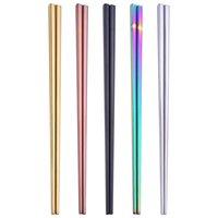 pauzinhos de aço inoxidável de alta qualidade venda por atacado-De alta Qualidade Brilhante 304 Aço Inoxidável Titanium Banhado A Ouro Pauzinhos, Chopsticks De Aço Inoxidável Colorido 5 Cores