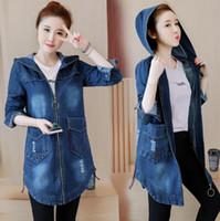 denim colete jeans mulheres venda por atacado-Mulheres Denim Azul Jean Jaquetas Slim Fit Bolsos Com Zíper Com Capuz Designer Outono Casacos Jaqueta Longa Plus Size 5XL