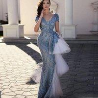robe soiree peplum großhandel-Vintage Spitze Ballkleider mit kurzen Ärmeln Peplum Tiered Cut_Out Mermaid Abendkleid Afrikanische Frauen Formal Wear robe de Soiree
