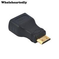 mini conectores de cable al por mayor-Promocion !! Mini HDMI a HDMI Adaptador Hembra a Macho Conector Convertidor F-M para HDMI 1080P Cable Adaptador Dispositivo para
