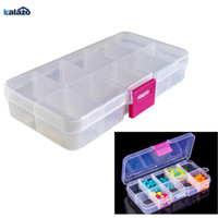 Wholesale small pill boxes resale online - 10 Grids Adjustable Transparent Plastic Storage Box for Small Component Jewelry Tool Box Bead Pills Organizer Nail Art Tip