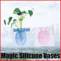 cámara shiping libre al por mayor-Jarrón mágico de silicona jarrón mágico de silicona para colgar en la pared jarrón mágico creativo multicolor insertado