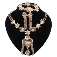 Wholesale mexican costumes women for sale - Group buy African Beads Jewelry Sets Wedding Costume Women Party Gold Color Tassel Heart Shaped Necklace Bracelet Earrings Ring