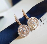 925 silberne ohrringe mutter perle großhandel-Designer Enchanted Lotus Serie Schmuck Rotgold Ohrringe 925 Silber Lotus Stil Perlmutt Schmuck doppelseitig tragbar
