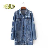 seios completos venda por atacado-2017 mulheres primavera jean jacket azul solto manga completa turn-down collar único breasted jacket com bolsos botton buraco novo a45