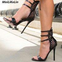 ingrosso tacchi alti coperti di nero-vendita all'ingrosso sexy fibbia sandali alti top copertura nera tacco partito donne sandali tacchi alti gladiatore stiletto di promenade delle donne pompe