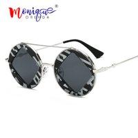 leopard eyewear großhandel-Vintage luxus runde sonnenbrille frauen markendesigner leopard rahmen quadratische linse sonnenbrille männer weibliche eyewear doppelstrahl oculos