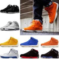 siyah serin ayakkabılar toptan satış-Yeni Mavi Sarı Turuncu Süet 18 s Basketbol Ayakkabı Tanımlayan Anlar Erkek Toro Kırmızı Siyah Kraliyet 18 XVIII Serin Gri Spor Sneakers 41-46