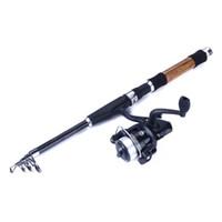 kits de carpa venda por atacado-Kit de equipamento de pesca de carpa de água doce conjunto de vara e 5: 2: 1 roda de carretel de fiação FRP vara de pesca portátil conjunto para pesca de carpa