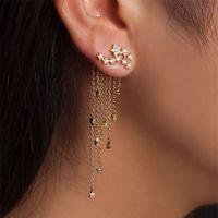 stern ohrring kette großhandel-Neuer Modedesigner-Goldohrring-funkelnder Stern-eingesäumter rückseitiger Anhänger mit empfindlichem Ohrring-Kettenquasten-Ohrring Freies Verschiffen