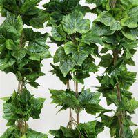 ingrosso appiccicoso foglia di foglie-Piante artificiali 12PCS Pianta Fiore artificiale Seta foglia d'uva Hanging Ghirlande Faux Vine Decorazione di nozze per la casa