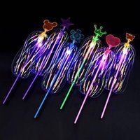 juguetes de cinta niños al por mayor-Coloridos juguetes luminiscentes para niños Variedad Twist Fun Ribbon Varita mágica Flash de luz Burbuja flor Glow Stick LED Light Sticks C6608