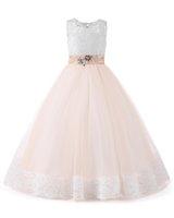 elbiseler için boncuklu tasmalar toptan satış-Şampanya Çiçek Kız Elbise Sashes ile 2019 Kolsuz Kutsal Communion elbise Aplikler Boncuklu Çiçek Kız Elbise Düğün İçin