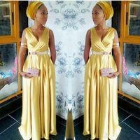 Wholesale gold sash for prom dress resale online - 2019 New Elegant African Gold Evening Dresses Long A Line Sashes Deep V Neck Prom Gowns Dress for the Degree Formal Dresses Prom Dress