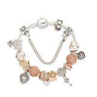 Wholesale beaded chain pendant resale online - Charm Love Series New Bracelet CZ Diamond Heart Pendant Love Key Beaded Ornament Female Holiday Gift Fashion Bracelet
