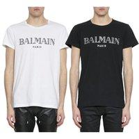 camisas brancas da luva dos homens venda por atacado-Balmain Camisas Dos Homens T Designer De Preto Branco Vermelho Amarelo Mens Moda Casual Roupas Designer de Camisetas Top de Manga Curta S-XXL
