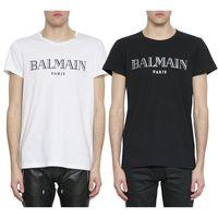 beyaz şort toptan satış-Balmain Erkek T Shirt Tasarımcı Siyah Beyaz Kırmızı Sarı Erkek Moda Rahat Giysiler Tasarımcısı T Shirt Üst Kısa Kollu S-XXL
