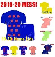 sıcak erkekler çorap futbol toptan satış-ÇOCUK Kitleri 2020 ERKEKLER futbol formaları sıcak FUTBOL calcio futbol messi gömlek Çocuk gençlik çorap şort spor pembe PIQUE COUTINHO DEMBELE 2019