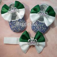 bebek özel ayakkabılar toptan satış-Zümrüt ilmek Özel Sparkle Bling kristalleri Rhinestones Bebek kız ayakkabı bebek 0-1Y şerit ayakkabı İlk Walkers hairband 3184
