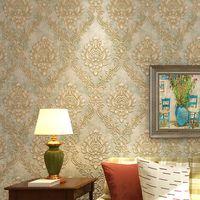 damask kabartmalı duvar kağıdı toptan satış-Avrupa Tarzı 3D Stereo Kabartmalı Yatak Salon Arkaplan Duvar Kağıdı Dekorasyon için Stripes Damask Duvar kağıdı Dokumasız