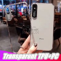 Wholesale iphone plastic plugs for sale – best 2019 New High Transparent TPU Frame Acrylic Case For iPhone Pro Max XR XS MAX plus Anti Scratch Cell Phone Cover With Dustproof Plug