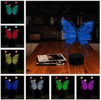 bebekler için gecelik hafif oyuncaklar toptan satış-Yenilik Yaratıcı 3D Kelebek illusion LED 7 Renk Degrade Gece Lambası Çocuk yatak odası Masa Lambası Arkadaş Tatil Bebek Noel Doğum Günü Oyuncaklar Hediyeler