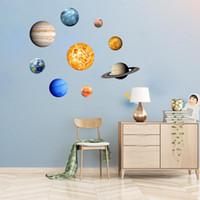 Wholesale plane sets resale online - 9pcs set Planet Solar System Fluorescent Glow Wall Stick The Universe Planet Galaxy Kids Room Bedroom Luminous Wall Stickers