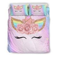 conjuntos de cama unicórnio venda por atacado-Unicorn Rainbow Colors 3D Bedding Set impresso desenhos animados edredon cobrir Set Rainha Rei Twin tamanho Crianças Lençois Set 3Pcs