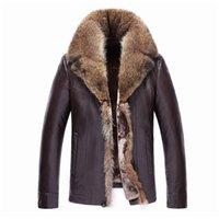 taklit kürk kaplı kışlık palto toptan satış-2018 Erkek Deri Ceket Sahte Sheepskin Ceket Kalın Deri Kürk Erkekler Kış Coat Fur Çizgili Coat Rakun Yaka