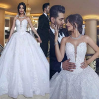 Wholesale pus size dresses resale online - 2020 New Middle East Sweetheart Princess A Line Wedding Dresses Lace Appliques Beaded Backless Bridal Gowns Vestios Pus Size Wedding Dress