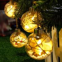 árbol al aire libre que cuelga bolas al por mayor-Árbol de Navidad de luz LED bola transparente colgando decoración de interior al aire libre
