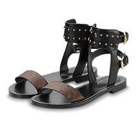gladyatör deri sandalet kadın toptan satış-LV 2019 Bayanlar Kama Sandalet Tasarımcılar Sandalet Tasarım Slaytlar Kadın Terlik Yüksek Kaliteli Gladyatör Sandalet Deri Kadın Terlik boyutu 35-41