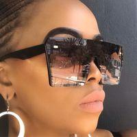 Wholesale flat sunglasses men resale online - sunglasses women oversized female luxury fashion mark flat top black light lens a piece of men gafas mirror shadow uv400