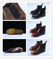 женские сапоги на высоком каблуке оптовых-2020 Dr.martenss Доктор Мартин Plain кожаные сапоги плоский каблук 3-4см 2019 Высокое качество леди Flats Womens Дизайнер Мартин сапоги с коробкой