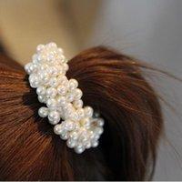 détenteurs de queue de cheval perle achat en gros de-Mode Corde Chouchou Ponytail Titulaire Blanc Noir Champange Faux Perle Perles Élastiques Bandes De Cheveux Accessoires De Cheveux pour Femmes