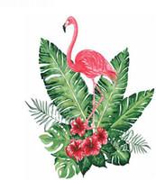 pintura bricolaje números flores al por mayor-Kits Pintados A Mano para adultos Pintura Pintura Al Óleo Pintura Bricolaje By Numbers-Flower flamingo 16