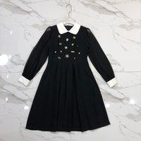 ingrosso colletto in tallone nero-Milano Runway Dress 2019 New Black Turn Down Collar Sheer Maniche lunghe Abito donna Cristalli Perline Designer Vestidos De Festa 828822