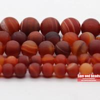 preço ágata vermelha venda por atacado-Preço de fábrica Natural Pedra Dull Matte polonês laranja Red Stripe Ágatas Rodada solta pérolas Para Colar Pulseira Fazendo DMS19