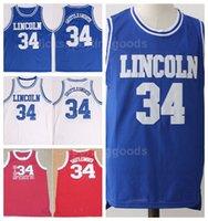 mavi kırmızı filmler toptan satış-NCAA Koleji Lincoln İsa Shuttlesworth Formalar 34 Uconn Connecticut Huskies Basketbol Filmi Büyük Halinde O Vardı Oyun Ekibi Kırmızı Mavi Beyaz