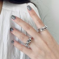 Wholesale 925 jewelry korea resale online - Silvology Sterling Silver Weave Line Tie Rings Vintage Irregular Design High Quality Thick Rings for Women Korea Jewelry
