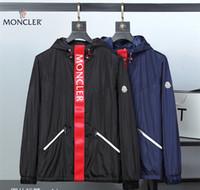 ingrosso uomini di cappotto blu-Giacca firmata da uomo di marca, giacca a vento da uomo, giacca casual da uomo, giacca casual con cerniera blu, giacca a vento firmata