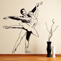 dans çıkarılabilir duvar etiketleri toptan satış-Balerin Duvar Sticker Çift Bale Dansçıları Siluet duvar çıkartması Çıkarılabilir Vinil Dekor kız odası dans stüdyosu posteri EB262