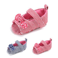 Wholesale baby girl cute sandals for sale - Group buy Baby Girls peep toe cloth sandals Toddlers cute dots bow decoration slim striped summer shoes colors sweet Girls soft sole first walkers
