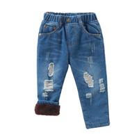 fondos chicos ropa niños al por mayor-Otoño Invierno Baby Boys Jeans Pantalones Toddler Thicken Kids Boy Pantalones Casual Warm Girl Pants Bottom Children Clothing Denim 1-6Y