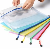 Wholesale pvc document holder resale online - New Colors A4 PVC Storage Bag School Office Supply Transparent Loose sheet Notebook zipper Self sealing File Holder Creative Gifts