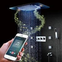 ливень массажный душ оптовых-Bluetooth Музыка LED Душевой Набор Водопад Осадки Душ Ванная Комната Смесители Для Душа Смеситель Массаж 304 SUS Душ Большая Вода