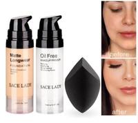 Wholesale professional liquid foundation set resale online - Professional Makeup Set Matte Foundation Primer Base Make Up Kit Oil control Pores Liquid Cream Brand Cosmetic Puff